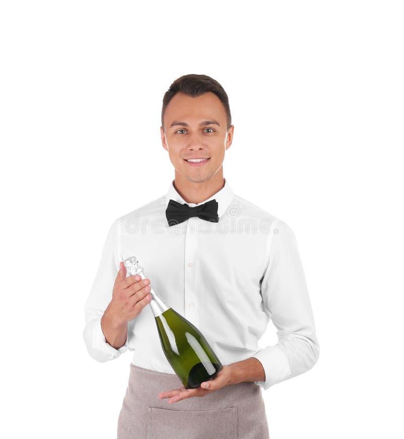 Cameriere con la bottiglia di champagne fotografia stock
