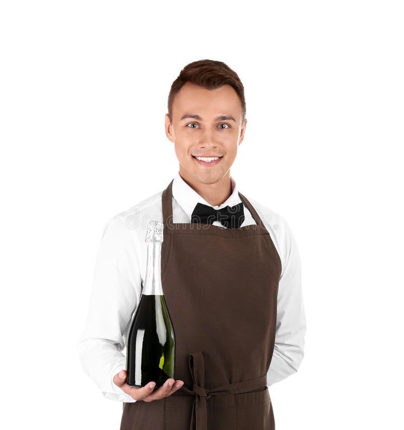 Cameriere con la bottiglia di champagne immagine stock