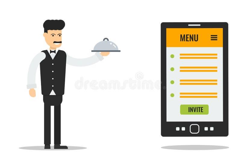Cameriere con la lista del menu illustrazione vettoriale