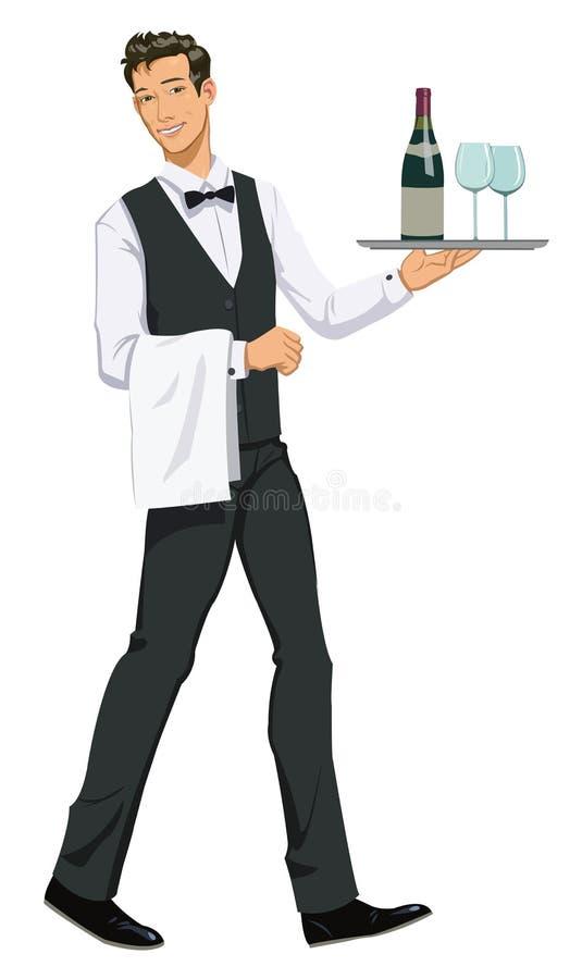 Cameriere con un vassoio illustrazione di stock