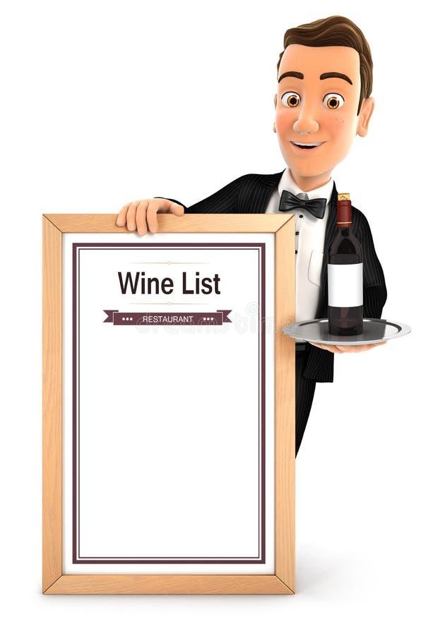 cameriere 3d con la lista di vino illustrazione vettoriale