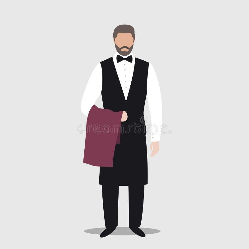 Cameriere del personaggio dei cartoni animati che indossa il tovagliolo uniforme della tenuta Illustrazione piana semplice illustrazione vettoriale