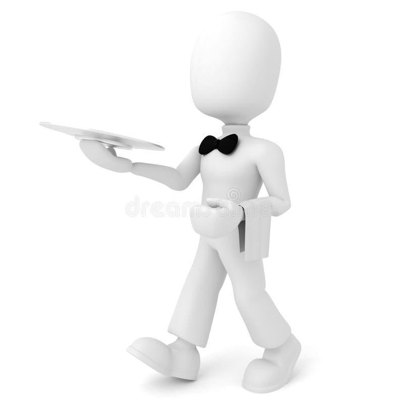 cameriere dell'uomo 3d illustrazione di stock