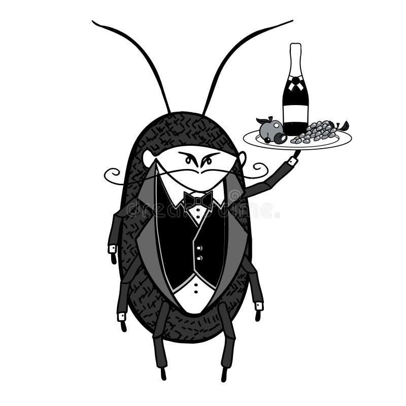Cameriere della blatta Un'accoglienza ha stilizzato il carattere del cameriere che tiene un vassoio del servizio royalty illustrazione gratis