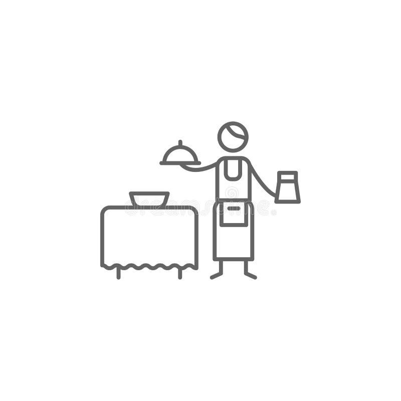 Cameriere, icona del ristorante Elemento dell'icona del ristorante Linea sottile icona per progettazione del sito Web e sviluppo, illustrazione di stock