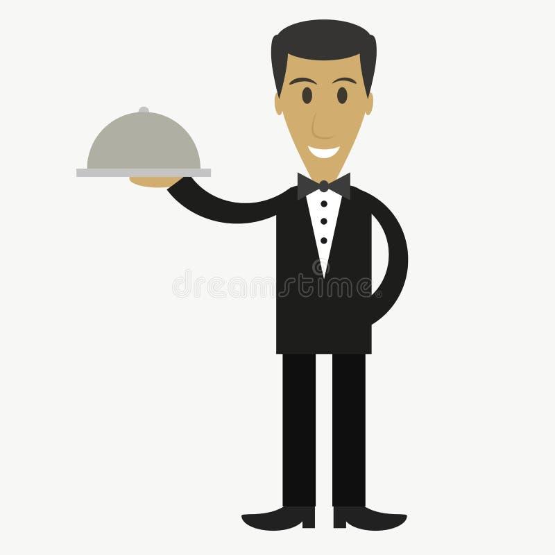 Cameriere, personaggio dei cartoni animati illustrazione di stock