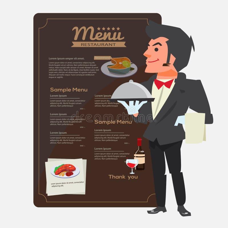 cameriere Progettazione di carattere Presentazione del concetto Menu del ristorante dentro illustrazione di stock