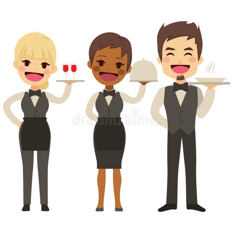 Cameriere Restaurant Team illustrazione di stock