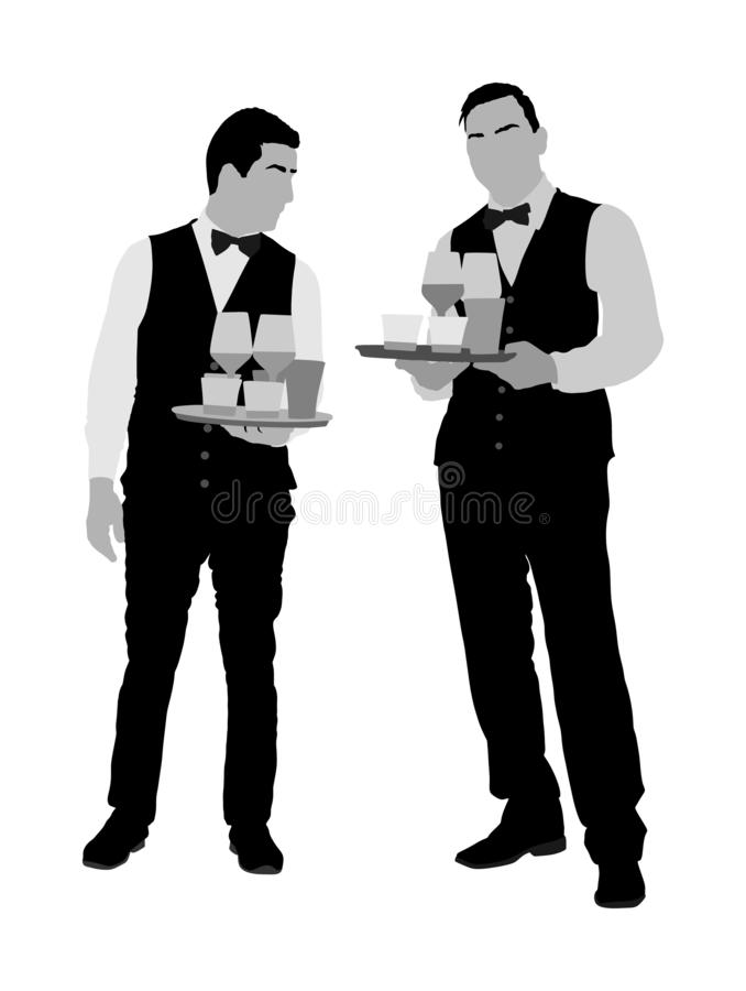 Camerieri professionisti che tengono vassoio con le bevande di ordine per il vettore degli ospiti Servo in ristorante che prende  illustrazione di stock