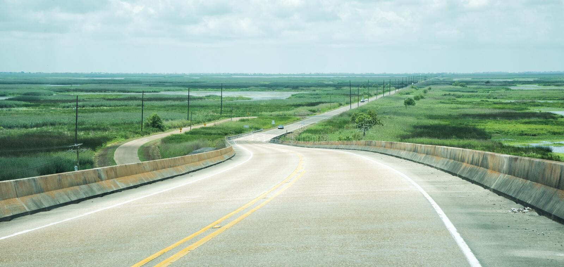 Cameron Parish, estrada 27 de Louisiana fotografia de stock royalty free