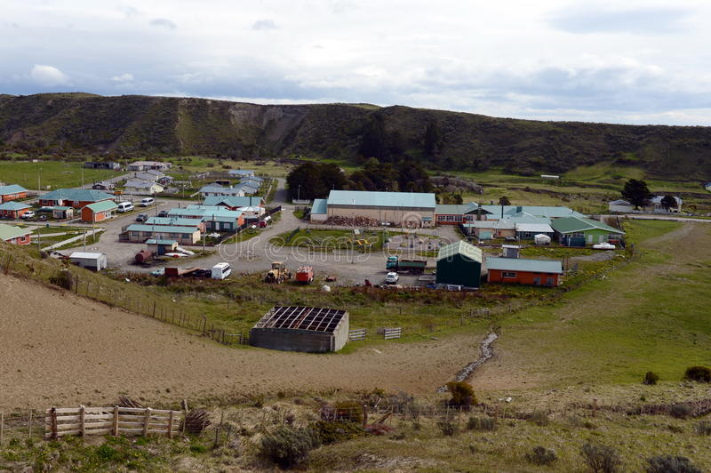 The Cameron village centre of the municipality of Temaukel. Tierra Del Fuego. CAMERON, CHILE - NOVEMBER 12,2014:The Cameron village centre of the municipality royalty free stock photography