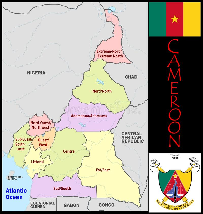 Cameroon Administrative Divisions Stock Illustration Illustration