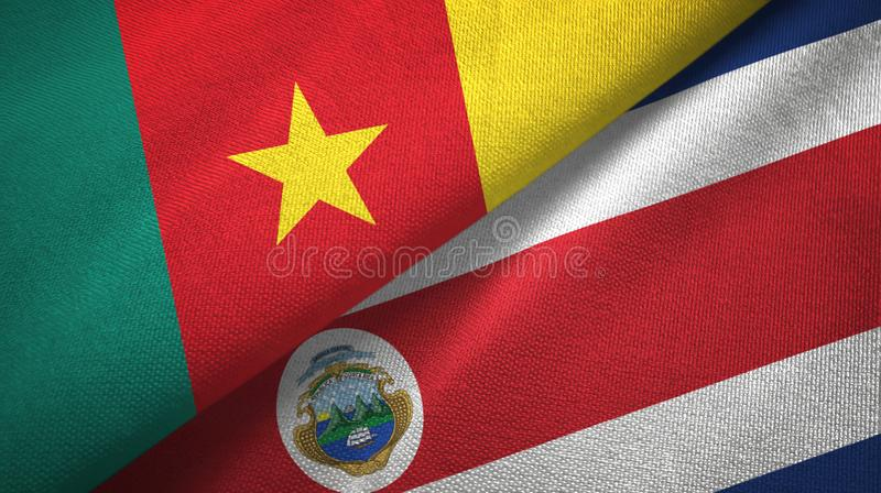 Cameroon and Costa Rica two flags textile cloth, fabric texture. Cameroon and Costa Rica flags together textile cloth, fabric texture royalty free illustration