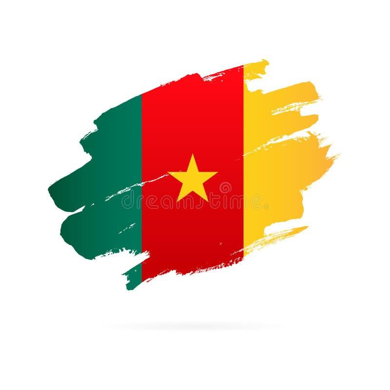 Cameroon flaga t?a ilustracyjny rekinu wektoru biel ilustracja wektor