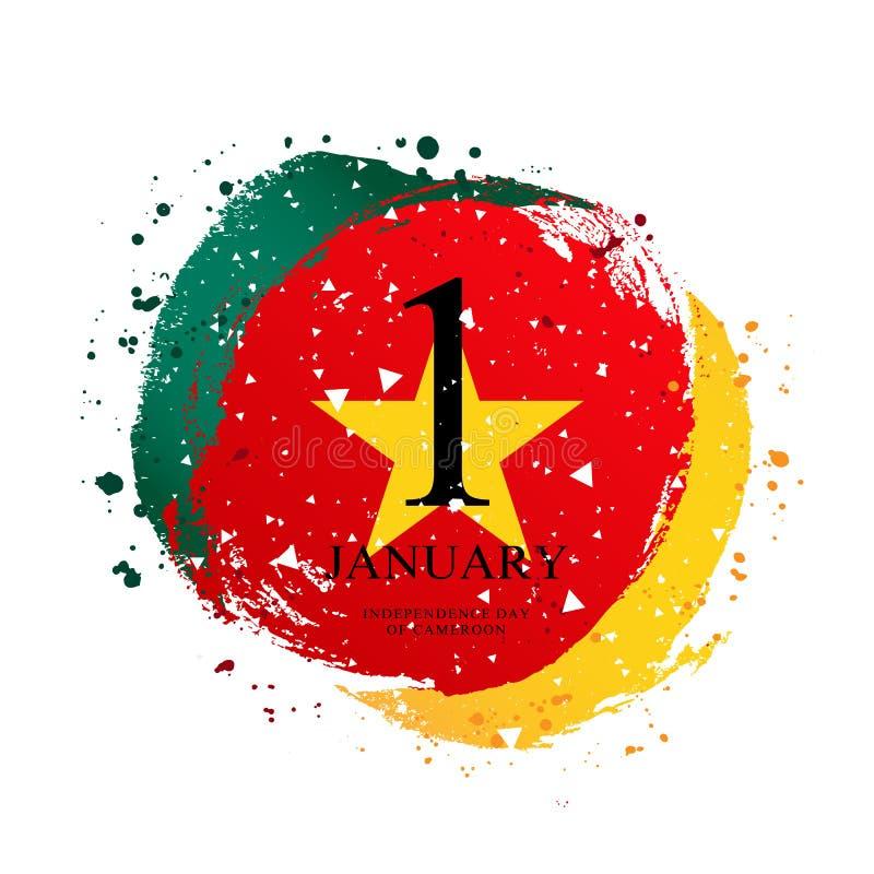 Cameroon flaga w formie okręgu Styczeń 1 - dzień niepodległości ilustracja wektor