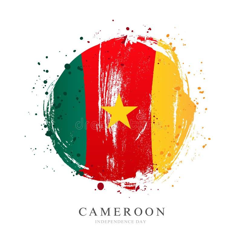 Cameroon flaga w postaci wielkiego okręgu ilustracja wektor