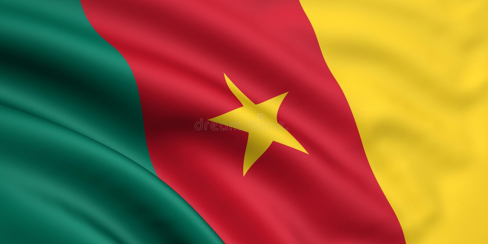 cameroon flagga stock illustrationer