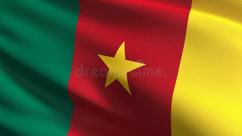 Cameroon flagi państowowej dmuchanie w wiatrze odizolowywającym Oficjalny patriotyczny abstrakcjonistyczny projekt 3D renderingu  ilustracji