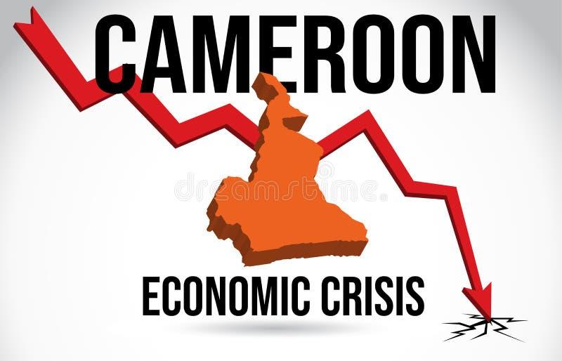 Cameroon Map Financial Crisis Economic Collapse Market Crash Global Meltdown Vector. Illustration stock illustration