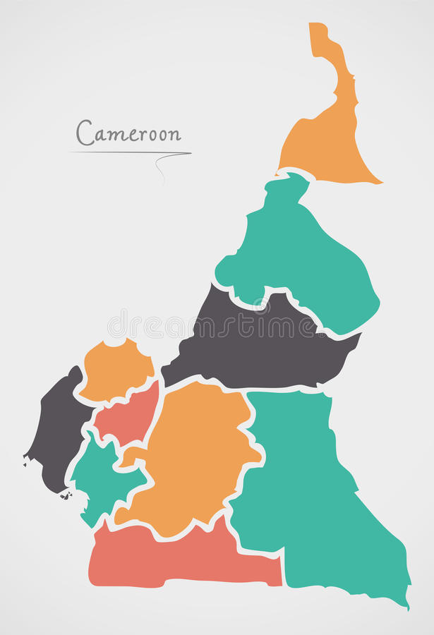 Cameroon Map with states and modern round shapes. Illustration vector illustration