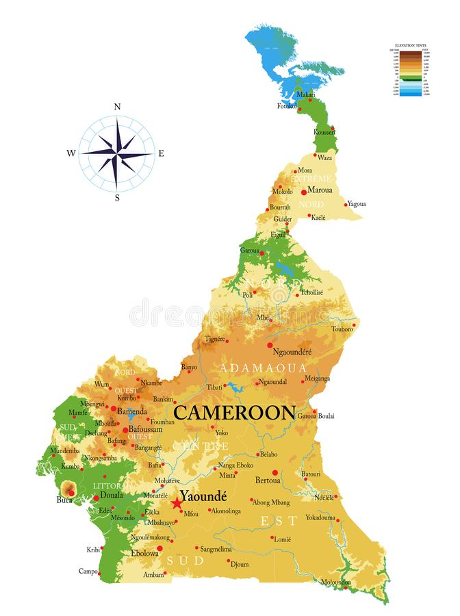 Cameroon physical map stock images