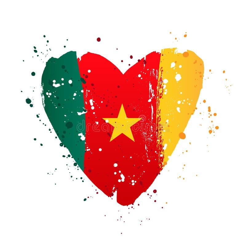 Cameroonian flaga w postaci dużego serca ilustracja wektor