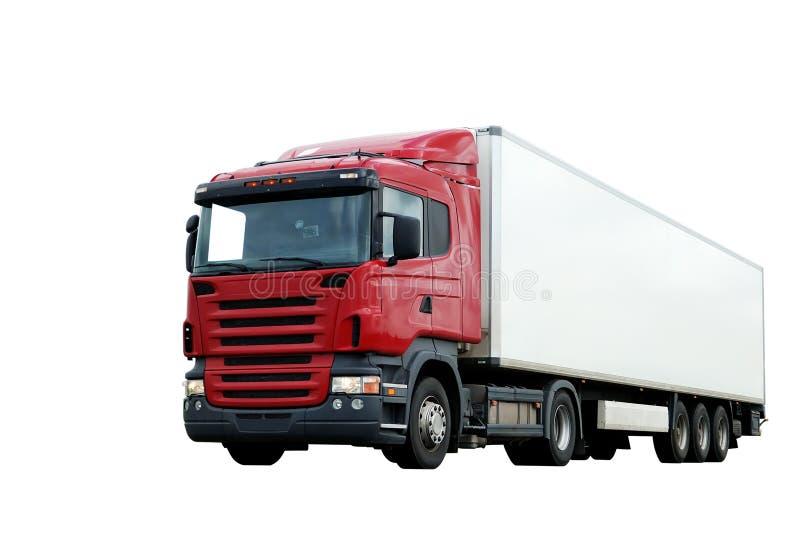 Camião vermelho com o reboque branco isolado imagem de stock