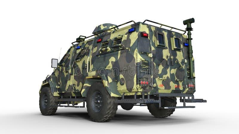 Camión acorazado de SUV, vehículo de ejército a prueba de balas, coche militar del camo aislado en el fondo blanco, visión traser ilustración del vector