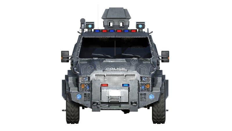 Camión acorazado de SUV, vehículo policial a prueba de balas, coche de la aplicación de ley aislado en el fondo blanco, vista del libre illustration