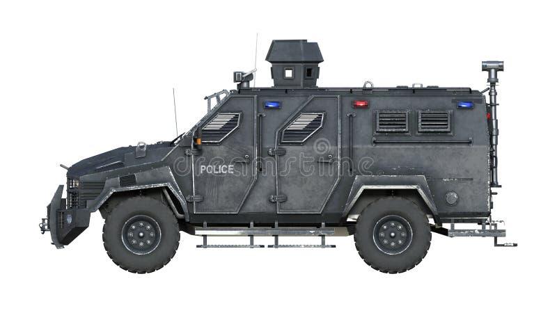 Camión acorazado de SUV, vehículo policial a prueba de balas, coche de la aplicación de ley aislado en el fondo blanco, vista lat libre illustration