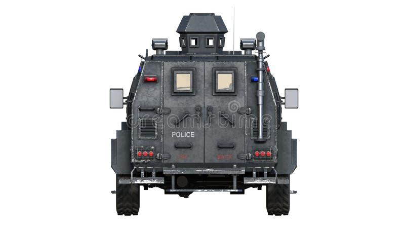 Camión acorazado de SUV, vehículo policial a prueba de balas, coche de la aplicación de ley aislado en el fondo blanco, vista pos ilustración del vector