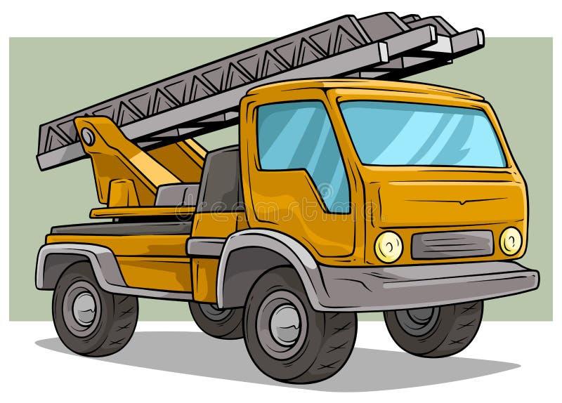 Camión amarillo del cargo de la historieta con la escalera del metal stock de ilustración