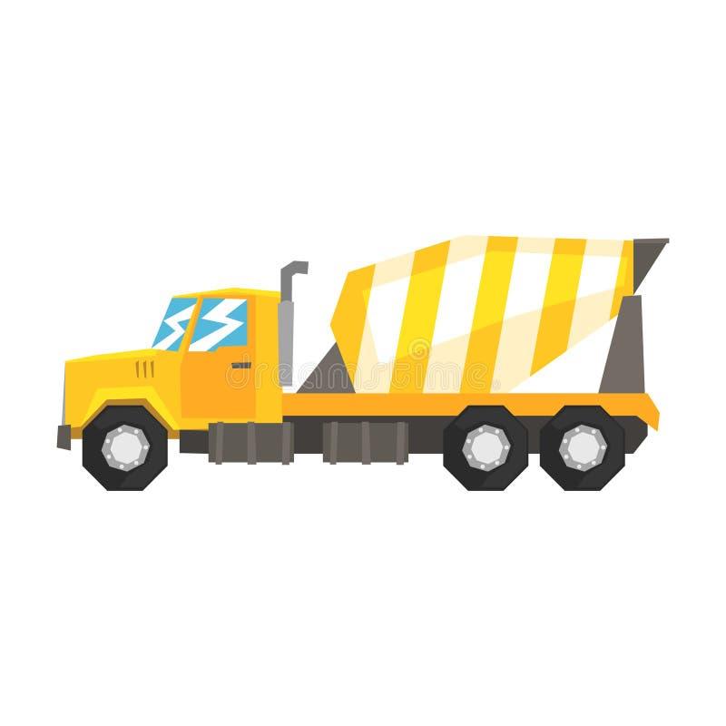 Camión amarillo del mezclador concreto, maquinaria industrial pesada, ejemplo del vector del material de construcción ilustración del vector