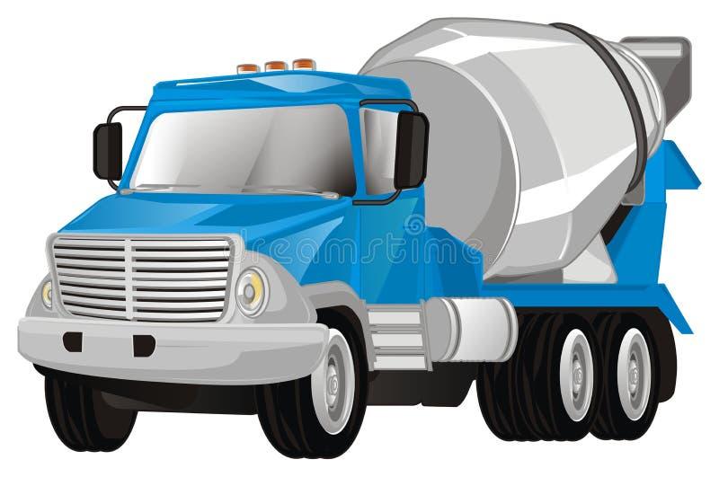 Camión azul del cemento stock de ilustración