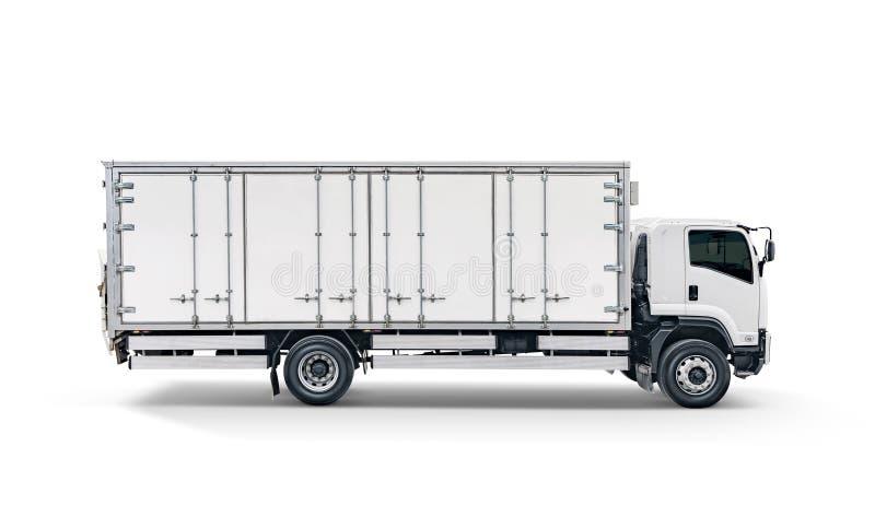 Camión blanco del cargo del transporte o remolque auto del coche del envase imagen de archivo