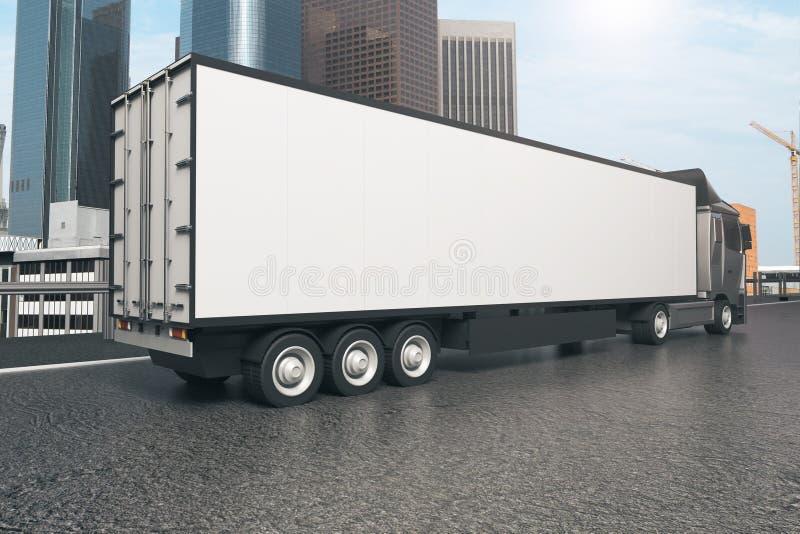Camión blanco en fondo de la ciudad ilustración del vector