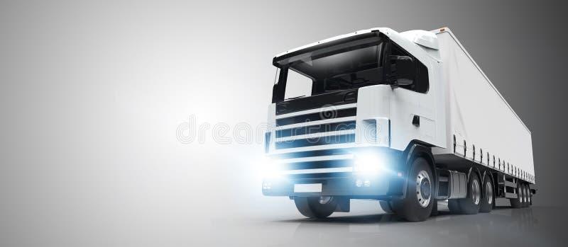 Camión blanco en un fondo gris stock de ilustración