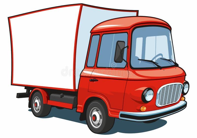 Camión comercial rojo de la historieta stock de ilustración