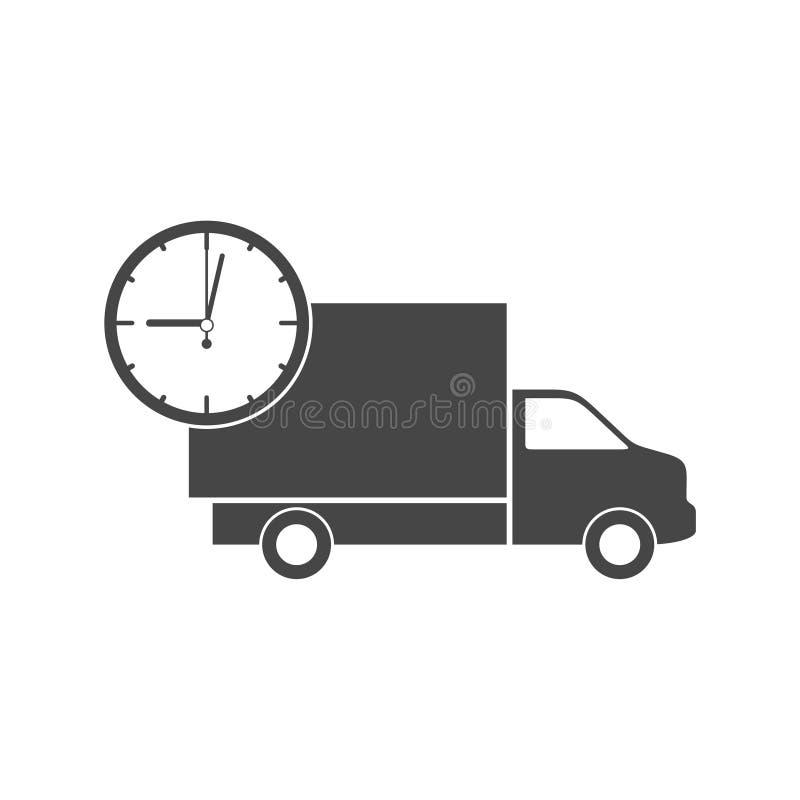 Camión con el reloj, icono rápido de la entrega stock de ilustración