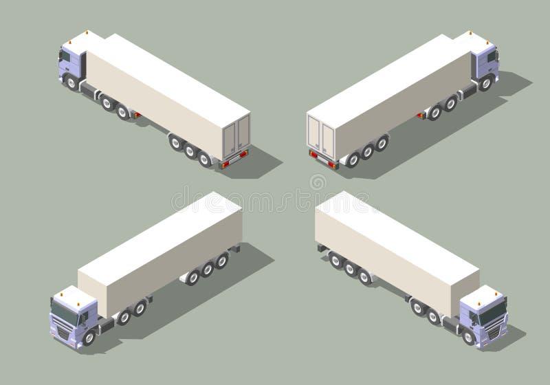Camión con el semi-remolque de la caja en diseño isométrico del ejemplo del gráfico de vector del icono de cuatro opiniones Eleme stock de ilustración