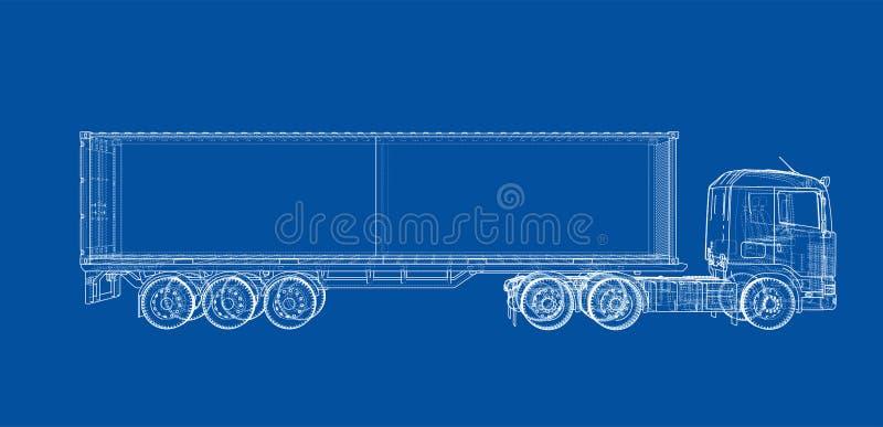Camión con el semi-remolque Vector stock de ilustración