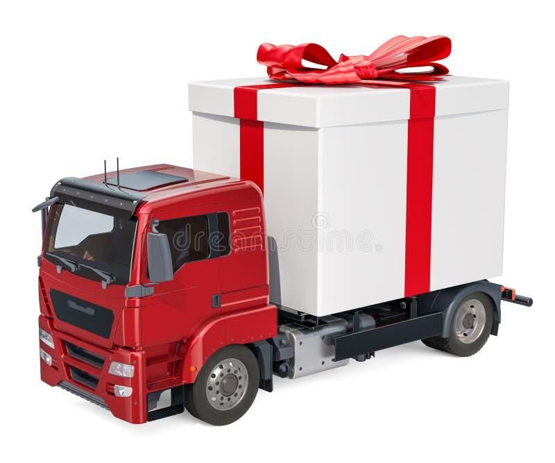Camión con la caja de regalo Concepto de la entrega del regalo, representación 3D stock de ilustración