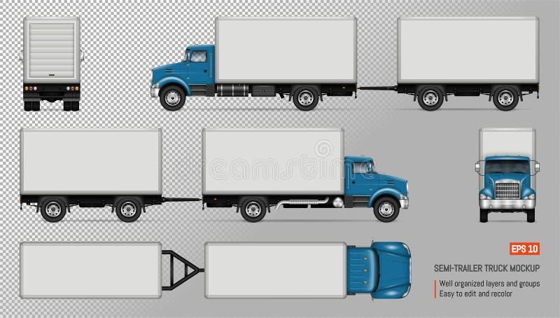 Camión con la maqueta del vector del remolque stock de ilustración