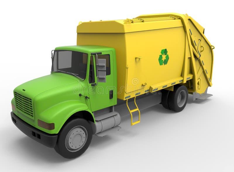 Camión de basura amarillo del vintage stock de ilustración