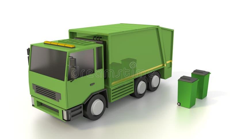 Camión de basura con dos cubos de la basura representación 3d imágenes de archivo libres de regalías