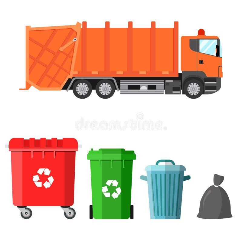 Camión de basura y cuatro variantes de contenedores ilustración del vector
