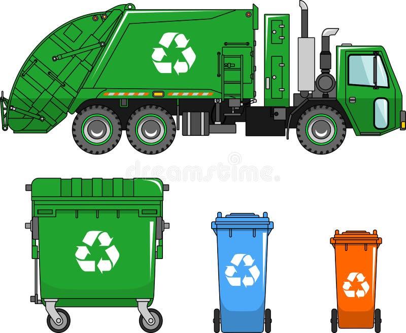 Camión de basura y diversos tipos de contenedores en un fondo blanco en un estilo plano stock de ilustración