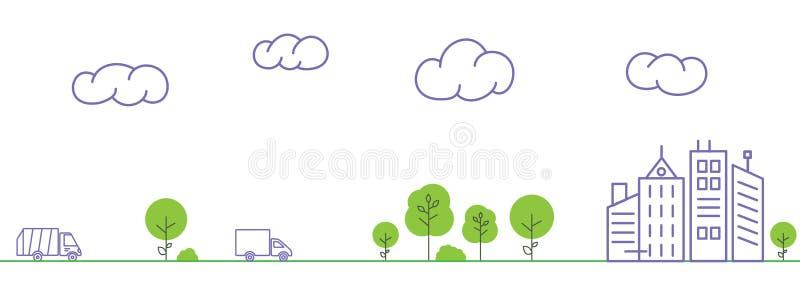 Camión de basura y paseos del camión en el camino a la ciudad ilustración del vector