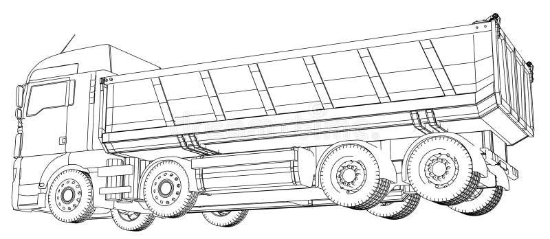 Camión de descargador descargado estilo del Alambre-marco Las capas de líneas visibles e invisibles se separan Ilustración del ve ilustración del vector