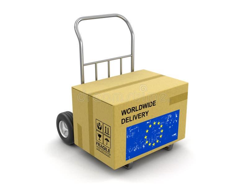 Camión de la caja de cartón a mano con la bandera de unión europea ilustración del vector